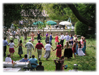 Circle dance at the Ananda Community in Mt. View, CA